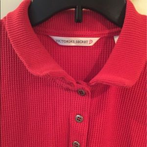 Victoria's Secret red long sleeve pajama top, M